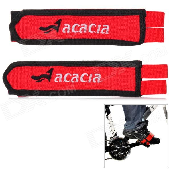 ACACIA Elastic Velcro Bicycle Cycling Pedal Straps - Red + Black (Pair) black red yellow blue skull design stainless steel tattoo foot pedal switch footswitch power supply