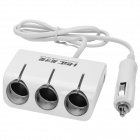 HSC 1-to-3 Car Cigarette Lighter Socket Splitter Adapter w/ Dual-USB Output - White (12~24V)