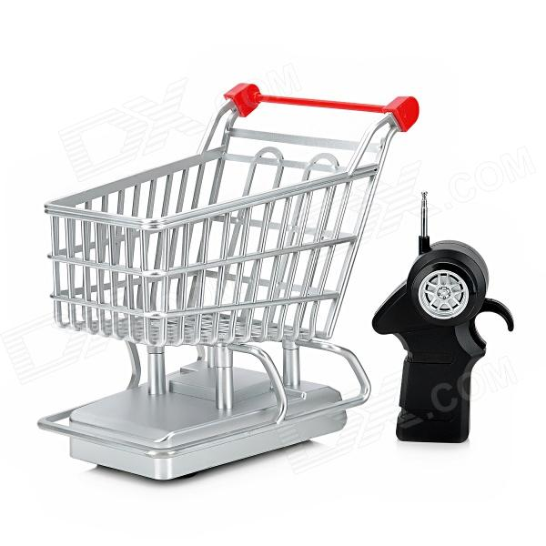 27mhz 2 Ch Electric R C Shopping Cart Toy W Remote Control Silver Red