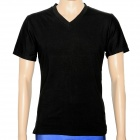 V Collar Men's Cotton Tights Short Sleeve T-shirt - Black (Size XXL)