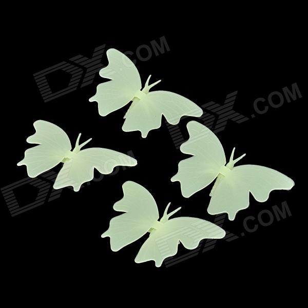 Butterfly Style PVC Wall Window Florescent Glow-in-the-Dark Sticker - Light Green (4 PCS) glow in the dark dog footprint style decoration wall paper sticker green