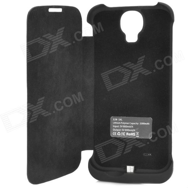Flip Open PU Leather 3300mAh Rechargeable Battery Power Case for Samsung Galaxy S4 / i9500 - Black