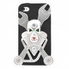 Stylish Protective Silicone Back Case w/ Plastic Relievo Skull Frame for Iphone 4S - Silver + Black
