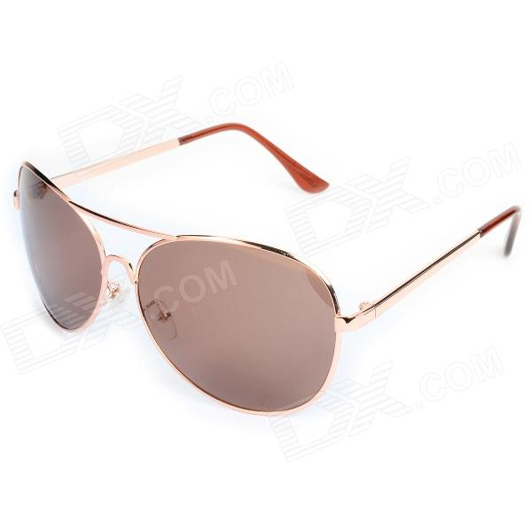 Fashion Resin Lens UV400 Protection Sunglasses for Women - Golden fashion uv400 protection round shape resin lens sunglasses wine red