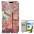 Protective Big Ben Pattern PU Leather Flip Open Case for Samsung Galaxy S4/I9500 - Red + Grey