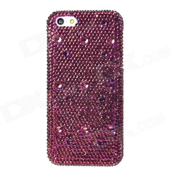 Luxurious Sparkling Crystal-inlaid Protective Plastic Back Case for Iphone 5 - Purple + White princess style shiny crystal back case for iphone 5 white