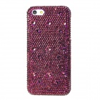 Luxurious Sparkling Crystal-inlaid Protective Plastic Back Case for Iphone 5 - Purple + White