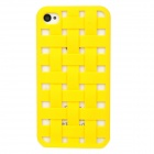 NEWTOP Stylish Heat Dissipation Hollowed Grid Plastic Back Case for iPhone 4S / 4 - Yellow