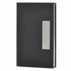 Knitting Pattern Stainless Steel Name Card Business Card Holder Case - Black + Silver