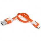 USB Male to Micro USB Male Charging Cable - Orange + White (20cm)