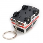 Creative Rescue Vehicle Style Plastic White Light LED Keychain w/ Sound - White + Red + Black