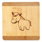 JY JY1863 Cute Horse Pattern Wooden Potholder Insulation Pad - Light Brown + Yellow