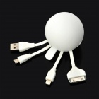 USB 2.0 Male to Lightning 8-Pin / Micro USB / 30-Pin Male Data Sync / Charging Adapter Cable - White