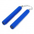 G-202 Sponge + Stainless Steel Martial Art Training Tool Nunchakus - Blue + Silver