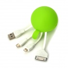 USB 2.0 Male to Lightning 8-Pin / Micro USB / 30-Pin Male Data Sync / Charging Adapter Cable - Green