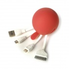USB 2.0 Male to Lightning 8-Pin / Micro USB / 30-Pin Male Data Sync / Charging Adapter Cable - Red