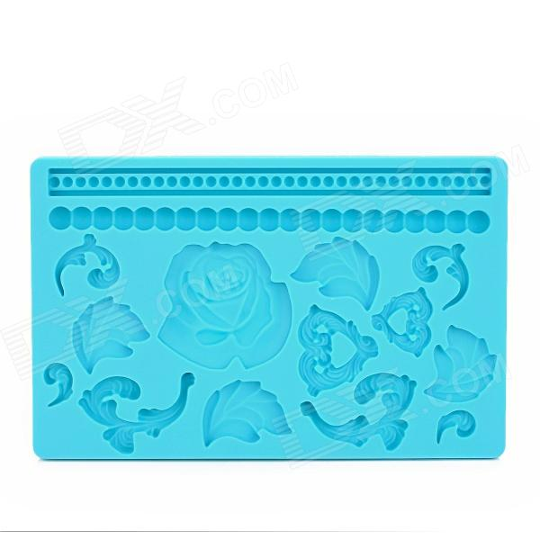 Stylish 3D Rose Style Silicone Cake Embossing Mold - Blue sp008 diy silicone button flower style cookie cake mold pink