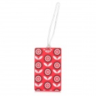 Plum Pattern Silicone Secure Travel Suitcase ID Luggage Tag - Red + White