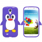 Protective Penguin Pattern Silicone Case for Samsung i9500 - Purple + White + Black + Yellow + Red