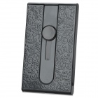 Two-Side Flower Embossed Pattern Sliding Type Business Card Holder Case - Black