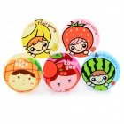 130122 Cute Cartoon Pattern Round Shaped Contact Lenses Box - Multicolored (5 PCS)