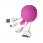 USB Male to Lightning 8-Pin / Micro USB / 30-Pin Male Data Sync / Charging Adapter Cable - Purple