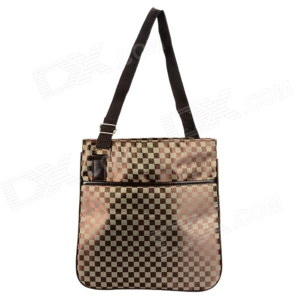 Fashion Square Pattern Shoulder Bag - Coffee