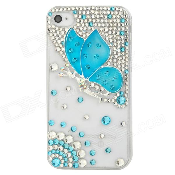 Protective Plastic Back Casew/ Sparkling Crystal-inlaid 3D Butterfly Fairy for Iphone 4 / 4S - Blue