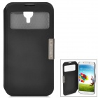360 Degree Rotatable PU Leather Case w/ Transparent Window for Samsung Galaxy S4 / i9500 - Black