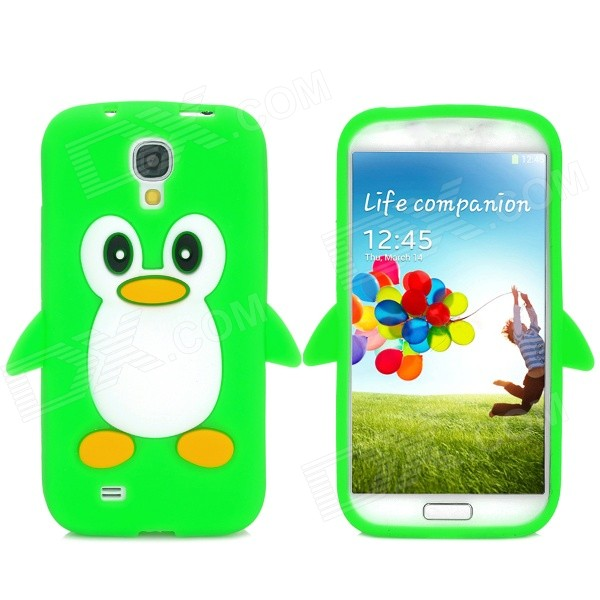 Protective Penguin Pattern Silicone Case for Samsung i9500 - Green + White + Black + Yellow protective silicone case for nds lite translucent white