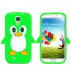 Protective Penguin Pattern Silicone Case for Samsung i9500 - Green + White + Black + Yellow