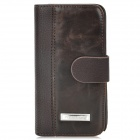 Protective PU Leather Flip Open Case for Blackberry Z10 - Brown + Black