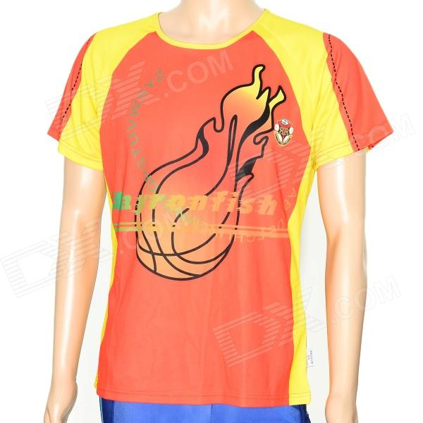 XINGLONG Men's Basket Ball Fire Pattern Nylon T-shirt - Red + Yellow (XL)