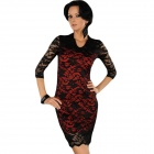 Elegant Precious Hollow-out 3/4 Sleeves Lace Evening Dress - Black + Red (Size-L)