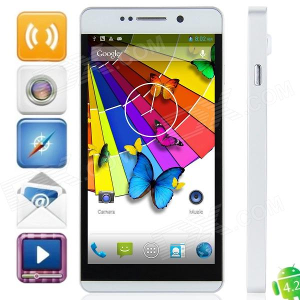 "W89 MTK6589 quad-Core Android 4.2.1 WCDMA Bar Phone w / 5.0 ""HD, Wi-Fi et GPS-Argent"
