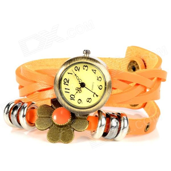 Four Leaf Clover Style PU Leather Band Quartz Bracelet Watch - Orange + Antique Brass (1 x 377) split leather band analog quartz watch handwork retro style bracelet for women 1 x ag4