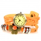 Four Leaf Clover Style PU Leather Band Quartz Bracelet Watch - Orange + Antique Brass (1 x 377)