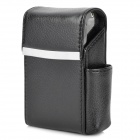 High Quality PU Leather Cigarette Case w/ Lighter Pocket - Black