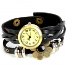 Four Leaf Clover Style PU Leather Band Quartz Bracelet Watch - Black + Antique Brass (1 x 377)
