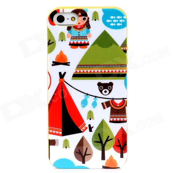 Lofter ASE2883 Cartoon Patterns Protective TPU Back Case for Iphone 5 - Multicolor custom 3d floor cobblestone wallpaper landscape for living room 3d flooring stereoscopic wallpaper 3d floor waterproof