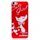 Lovely Cartoon Cat w/ Love Heart Pattern Protective Plastic Back Case for Iphone 5 - Red + White
