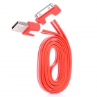 USB Male to Apple 30 Pin Flat Data Cable for iPhone 4 / 4S / The New iPad - Red + White (100cm)