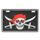Stylish Pirate Skull Pattern DIY Aluminum License Plate for Motorcycle - Black + Red + White