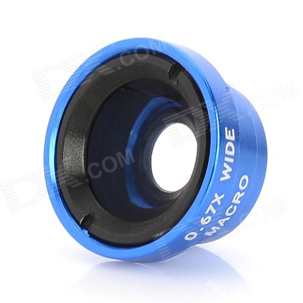 Lesung Universal Wide Angle Lens + 0.67X  Macro Lens for Mobile Phones - Black + Blue lesung universal 180 degree fisheye lens for digital cameras and cell phones blue argent