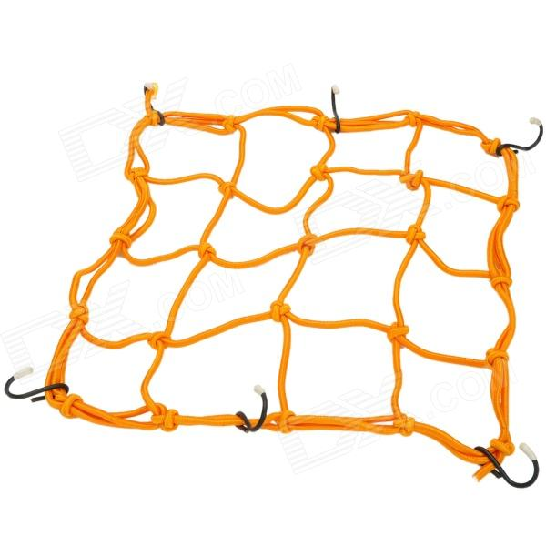 Elastic Stretchy Nylon Cargo / Luggage Organizer Fixing Net w/ Hooks for Motorcycle - Golden