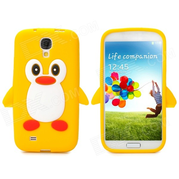 Protective Penguin Style Silicone Back Case for Samsung Galaxy S4 - Yellow + White + Red + Black protective silicone case for nds lite translucent white