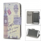 Big Ben Pattern PU Leather Flip Open Case for Samsung Galaxy S4 / i9500 - Grey + Beige + Black