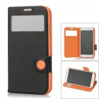 BASEUS Protective PU Leather Flip Open Case for Samsung Galaxy S4 / i9500 - Black + Orange
