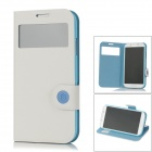 BASEUS Protective PU Leather Flip Open Case for Samsung Galaxy S4 / i9500 - White + Blue
