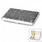 Retro Egyptian Pattern Cigarette Case - Silver + Grey